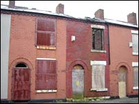 Boarded up houses in Langworthy, Salford