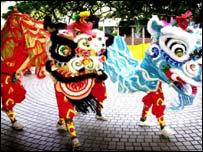 Lion dancers