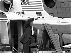 Richard Nixon waves from the steps of his helicopter after resigning over Watergate
