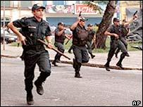 Police at a demonstration in Belem