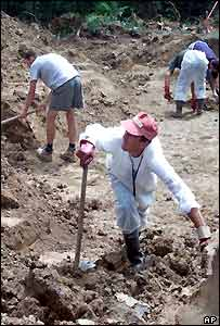 Forensic experts remove topsoil to reveal human bones