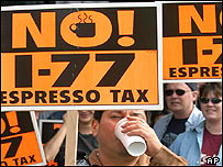 Anti 'latte tax'  protestors