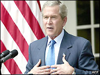 President George W Bush speaking at White House press conference