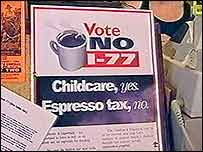 A poster urging voters to reject the new latte tax, officially known as the Initiative 77