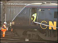 The derailed train which had just left King's Cross station