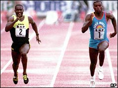 Ben Johnson (L) racing Carl Lewis