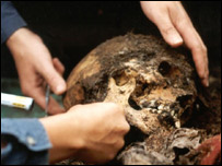 Resto humanos hallados en Guatemala (Foto gentileza: Minugua)