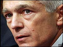 Retired Gen Wesley Clark testifies on U.S. policy on Iraq during a Senate Armed Services Committee hearing  in 2002