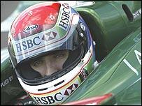 Justin Wilson in the Jaguar cockpit