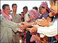 Hun Sen greets supporters on Thursday