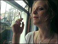 Woman smoking inside