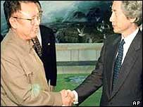 Kim Jong-il and Junichiro Koizumi shake hands at 17 September 2002 summit