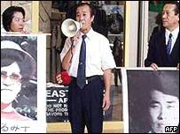 Relatives of missing Japanese abductees protesting