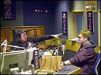Jonathan Ross with Sir Elton John in Radio 2 studio