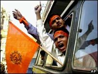 Hindu militants protesting after being arrested
