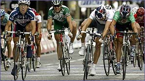 Baden Cooke (right, green) tussles with fellow Australian Robbie McEwen on the Champs Elysees