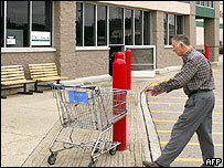 Shopper outside Wal-Mart