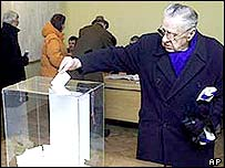 Voters in Serbia