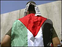 A Palestinian demonstrator wraps himself in the Palestinian flag