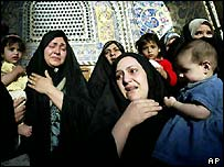 Iraqi women in a mosque during the religious festival Ashura