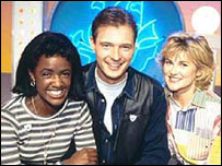 ohn Leslie with Blue Peter co-hosts Diane-Louise Jordan (left) and Anthea Turner
