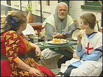The Kinsey family eating a pub lunch in costume
