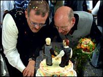 Heinz Fredrich Harre and partner Reinhard Luechow celebrate in Germany
