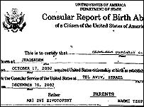 Section of US consular document registering Menachem Zivotofsky's birth