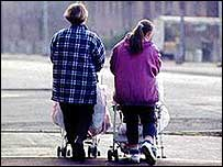 Young mothers with pushchairs
