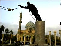 Saddam Hussein's statute was pulled down by an Iraqi crowd in early April