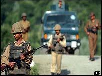 Indian soldiers on patrol in Kashmir