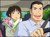 Chihiro (left) driving with her father