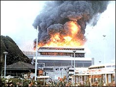 The Summerland leisure complex on fire