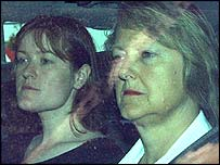 Dr Kelly's wife Janice Kelly (rt) with an unnamed woman