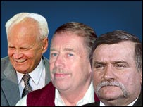 Arpad Goencz, Vaclav Havel and Lech Walesa