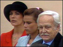 Prince Rainier with daughters Caroline and Stephanie