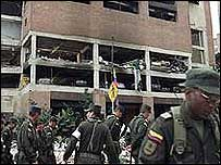 Soldiers outside bombed cafe