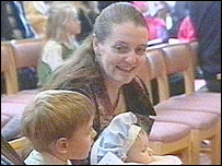 Diane Blood with her sons Liam and Joel
