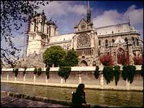 Notre Dame Cathedral on the river Seine in Paris