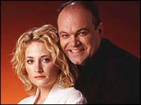 Eastender's Natalie and Barry Evans, played by Shaun Williamson and Lucy Speed
