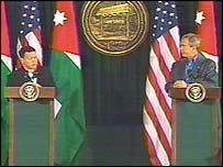 US President Bush and Jordan's King Abdullah at a Camp David press briefing