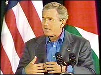 US President Bush at a Camp David press briefing