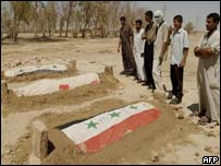 Iraqi men stand beside graves of Uday, Qusay and Mustafa Hussein