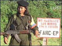 Revolutionary Armed Forces of Colombia (FARC) recruit