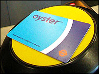 An Oyster travel card, sitting on top of a card reader