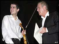 Daniel Barenboim [right] with his son during