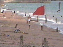 Red warning flags at Teignmouth beach