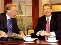 Sir David Frost interviews the Prime Minister, Tony Blair MP