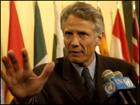 Dominique de Villepin addresses the media at the United Nations