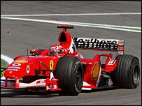 Michael Schumacher was relegated to seventh place with a tyre failure